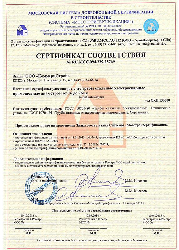 Сертификат соответствия № RU.MCC.094.229.25769